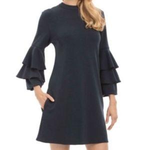 Nicole Miller Tiered Ruffle Sleeve Shift Dress